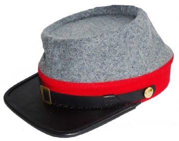 Confederate Grey Artillery Kepi With Red Trim